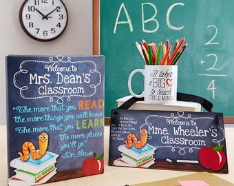 Teacher Gift Set - Chalkboard Classroom Book Worm Quotation Saying CANVAS  and Door Sign Teacher End of Year Christmas Present Gift GS0001
