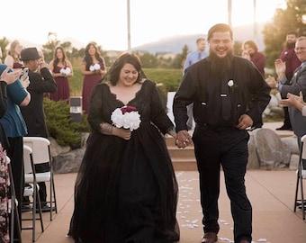 Black lace tulle dress / black dress / custom made black wedding dress / black bridal gown / black gown / sclallop fringe weddig gown
