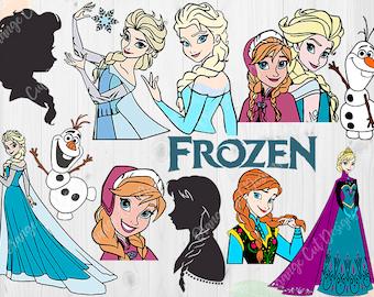 Disney Frozen Svg, Frozen elsa Svg, Frozen Dxf, Eps & Png files, Frozen Cut files, Frozen princess files for Cricut, Silhouette cameo,