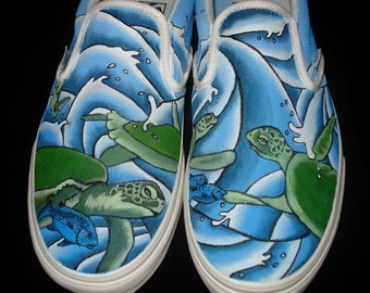 Hand Painted Vans - Turtles