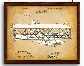 Wright Brothers Flying Machine - Printable Art - Great Gift for Pilots - Instant Download