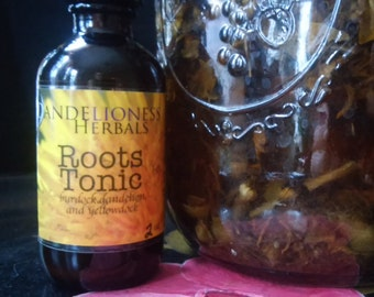 Roots Tonic: Burdock, Dandelion, and Yellowdock Bitters, Spring Tonic for Liver Support, Good Digestion, and Hormone Balance