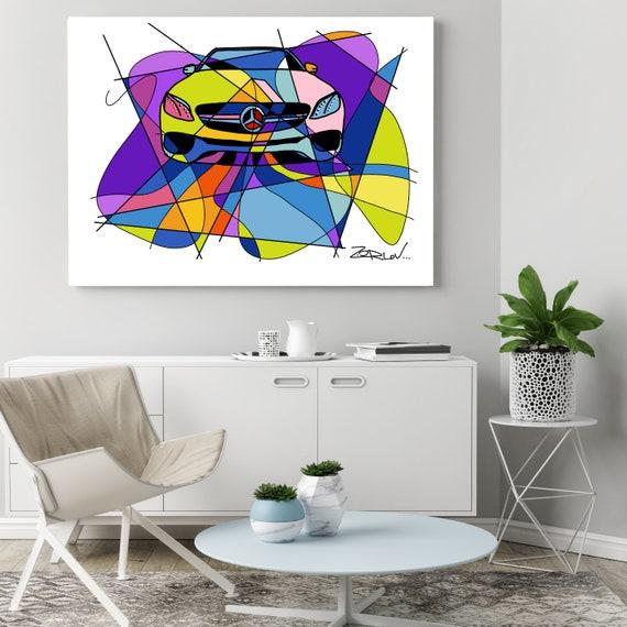 "Mercedes, Mercedes art print. Purple Mercedes Painting Canvas Art Print, Kids Wall Decor, Cars Wall Decor up to 72"" by Zeev Orlov"