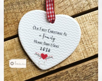 Personalised Our First Christmas as A Family Ceramic Heart with Heart and Chevron Detail - Christmas Gift - Tree Decoration - Keepsake