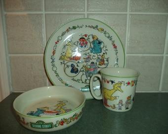 SALE Sesame Street Gorham porcelain plate bowl cup 1976 & Bert and ernie plate   Etsy
