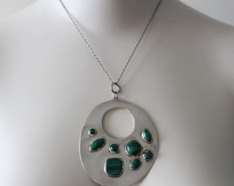 Vintage Joid'art Barcelona Sterling Silver and Green Malachite Necklace 1980s