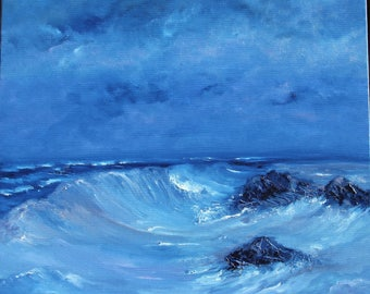 Art, oil painting, painting, landscape, marine, ocean, rocks, Brittany, blue sky, figurative, original, signed, certificate, free shipping