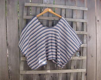 Upcycled Striped Wool Sweater Knit Poncho Cape Cover Up/Casual Earthy Eco Sweater Shawl Gray Tan White Cropped Capelet One Size