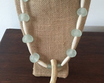 Antler & Sea Glass Necklace