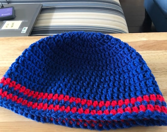 Blue and Red Beanie