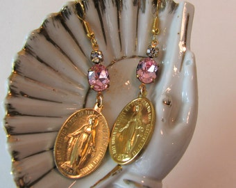 Vintage Miraculous Medal earrings, sparkling pink rhinestones, Virgin Mary, Blessed Mother, Catholic Christian religious jewelry 2.75""