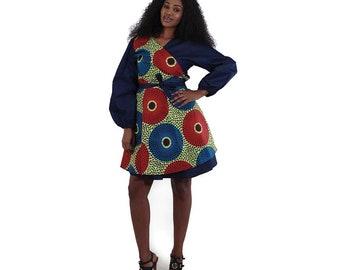 African Print Denim Wrap Dress