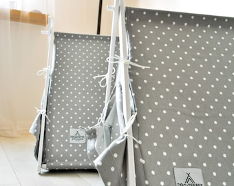 Dog bed. White Dot teepee tent + gray dot cushion(Large size)