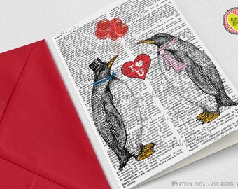 Penguins in love Greeting Card-4x6 card-Valentines day card-Invitation card-Note card-love card-anniversary card-by NATURA PICTA NPGC085