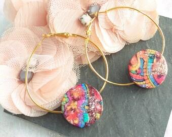 Gold hoop Pearl Earring resinated wood buckle ethnic.
