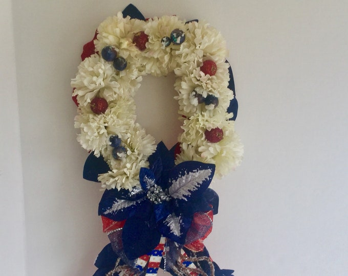Patriotic Christmas memorial ribbon, grave decoration, memorial flowers, Floral Memorial, grave marker, in memory of, red white and blue