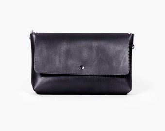 "Minimalist Bag, Small Crossbody ""Zelda Black"", Black Leather Crossbody, Leather Crossbody Purse"