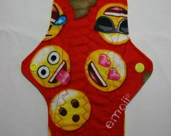 ZORB Kiki Mama Cloth Menstrual Pad Size is Regular Emoji Faces Poop Red