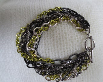 Multi-Chain Bracelet - Peridot, Silver and Black
