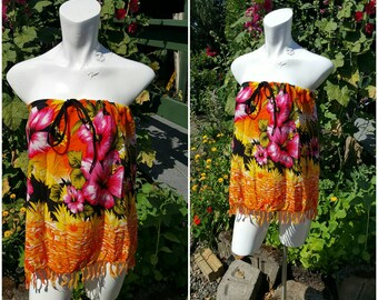 Strapless summer top -Size medium-Drawstring bust-Summer clothing-Festival-Beach-Boho-Hippie-Altered couture- Handmade fashion-Teen-Tops-RED