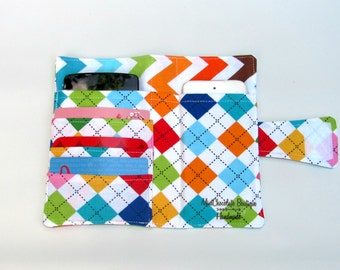 Cellphone iPhone or iPod Wallet,Cellphone Case, Business Card organizer, Loyalty card wallet, iPhone Wallet,Gift Card Holder Argyle