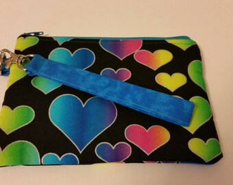 Hearts - crossbody bag, Wristlet, Zipper pouch, Gift for her, Gift for teen, Hearts zipper pouch