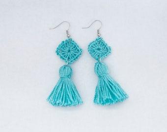Crochet Granny Tassel Earrings, Tassel Earrings, Granny Square Earrings, Crochet Earrings