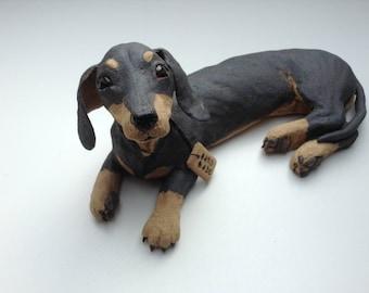 Dachshund dog/puppy sculpture/ornament. Stoneware, unique, handmade art. Doxie