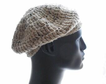 Merino Alpaca Beret, Men's Crochet Hat, Neutral Color Tweed Hat, Medium Size