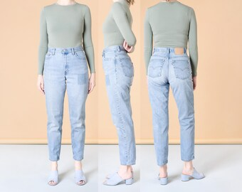 LEVIS MOM JEANS high waist faded Patched patches vintage denim woman / size 8 9 / 29 30 inch waist