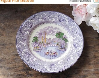 ON SALE Multi Color Purple Transferware Dinner Plate Ridgways Venice Numbered Ca. 1800s Replacement China Plate