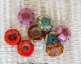 12mm Carved Hawaiian Flower Mix 1 - Mixed Colors Czech Glass Flower Bead - 5505 - 8 Beads, 12mm Picasso Hawaiian Flower Mix 1