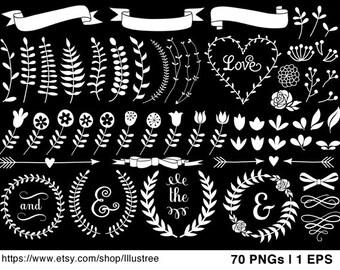 70 floral laurel wreath clip art, vintage roses, hand-drawn flowers, digital clipart, chalkboard, commercial use, EPS, SVG, download