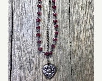 ON SALE RUBY Sterling Silver Heart Lotus Pendant Layered Necklace, Ruby Necklace, Lotus Necklace, Heart Necklace, Sculpted Bead