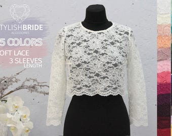 Elise Lace Crop Top with Long Sleeves,Lace Crop Top,Tops Sleeves Vest Tank Camisole,Wedding Bridesmaids White Cami Crop Top,Silk Lace Top