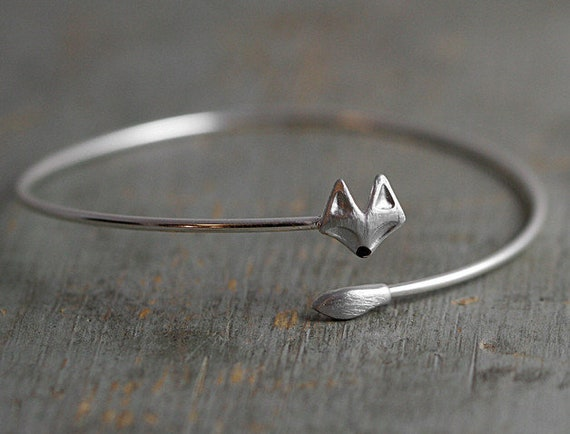 Delicate silver fox bangle. Fox head and tail. Hand patinated