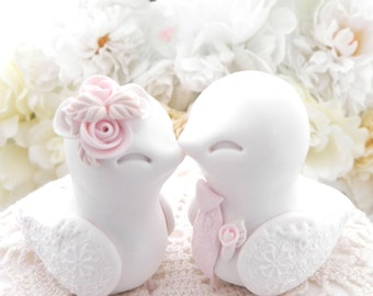 Love Birds Wedding Cake Topper, White, Dusty Pink and Beige - Bride and Groom Keepsake, Fully Custom