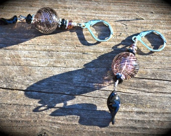 Twisted Purple Earrings hollow glass bead earrings with twisted glass charm handmade jewelry gift