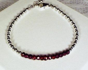 "Cynthia Lynn ""SHIMMER"" Sterling Silver January Birthstone Red Garnet Minimalist Bracelet"