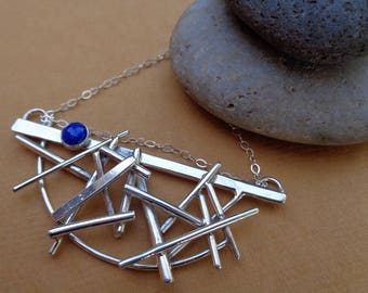 Ready to Ship! Pick-Up-Sticks - Lapis and Sterling Silver Art Jewelry Necklace by Judi Goldblatt Studio