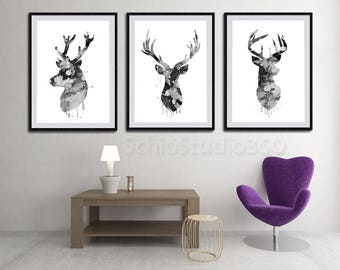 Set of 3 Deer Stag Watercolor Art Print (Black and White) - Woodland Animal Wall Decor Housewarming Gift - Nursery Art Birthday Gift
