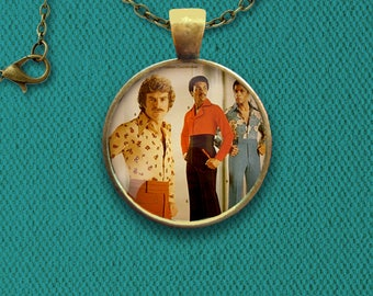 Retro 1970s Men's Fashion Style Pin, Magnet, Keychain, or Necklace