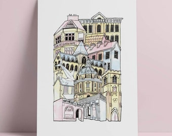Oxford A4 Illustrated Stacking cityscape print