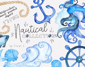 Watercolor Clipart, Nautical Clipart, Navy Blue Clipart, Commercial Use, Hand-painted Clipart, Starfish, Anchor Clipart, Whale, Fish