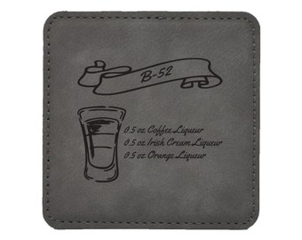 B-52 Drink Coasters - Mixed Drink Recipies - Choice of Coaster Color and Shape - 071