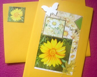 Carte-bijou et son enveloppe assortie * FLEURS