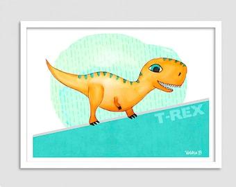 Dinosaur illustration, poster dino boy, boy, kids room, boy nursery decor illustration poster, dinosaur, Dino