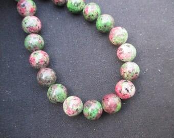 Jasper: 5 to 10 mm in diameter 11 round beads