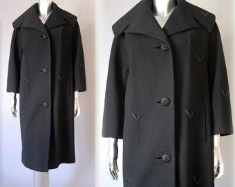 Vintage black wool garbadine coat | vintage 1960s wool coat | 60s vintage coat