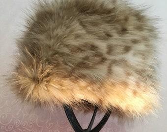 Blonde Leopard Luxe Shag Faux Fur Hat